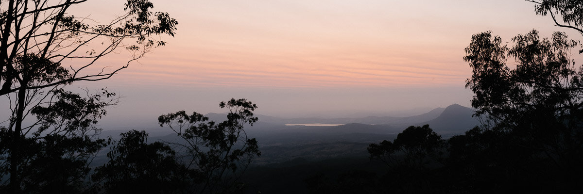 Panoramic sunrise during an unprecedented fire season in South East Queensland.