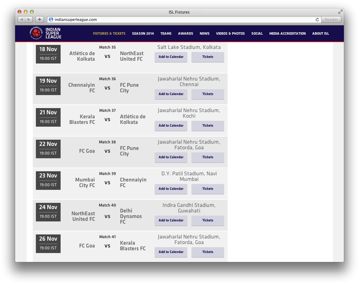 Add to calendar embed buttons on the fixtures page
