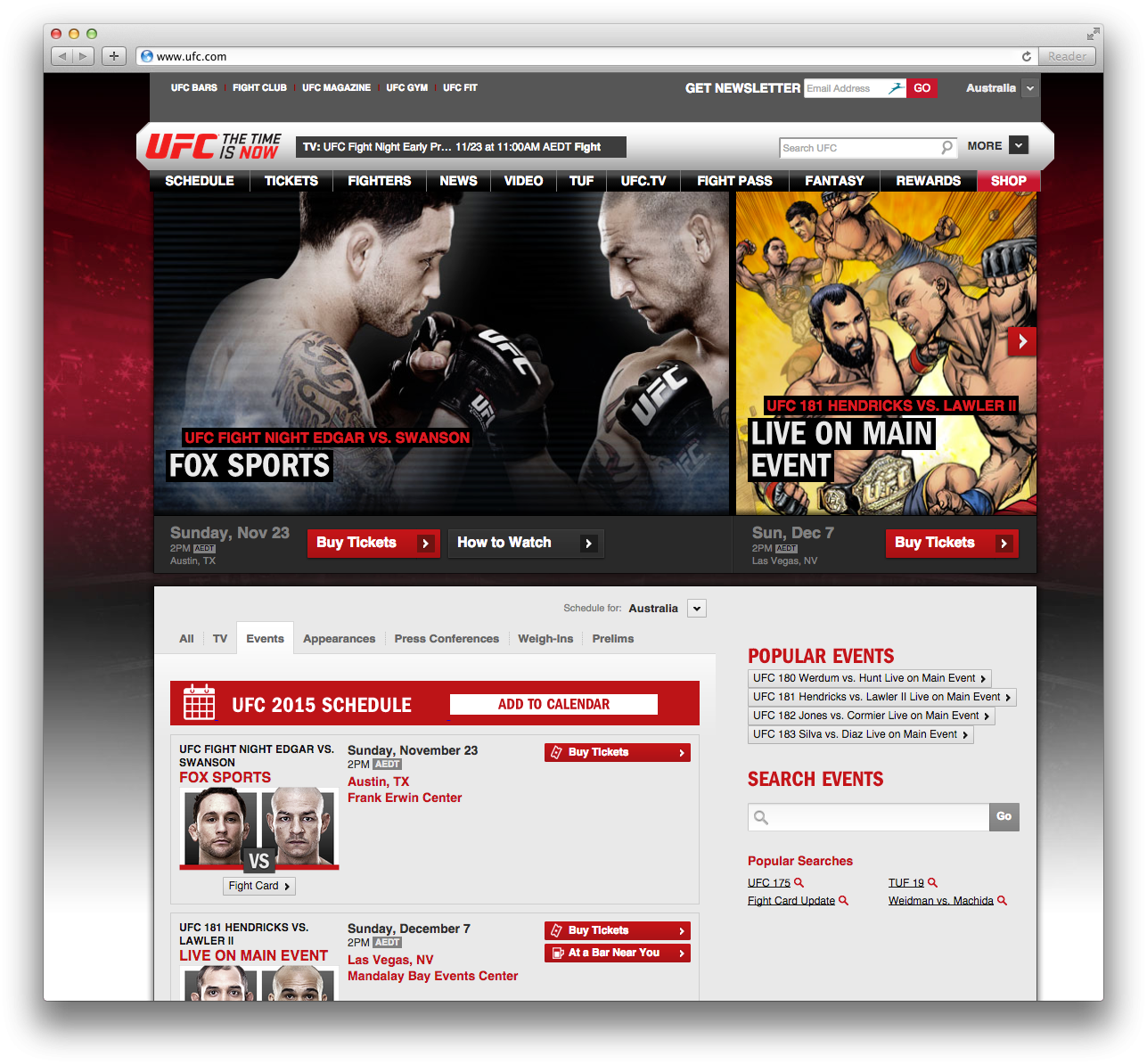Add to calendar button and banneron the UFC schedule  page