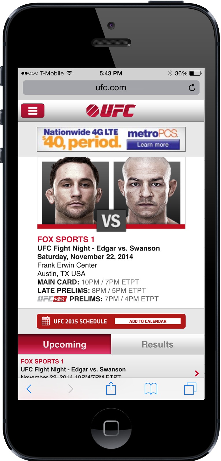 Add to calendar banner on UFC mobile page