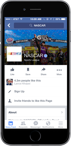 NASCAR Facebook Page, featuring Sign-Up Button