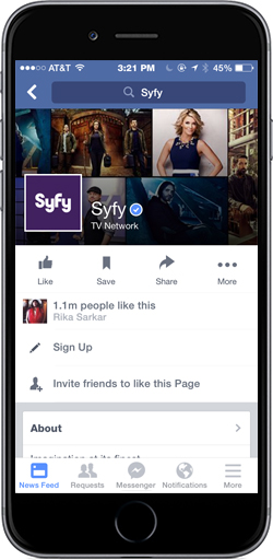Syfy Network Official Facebook page, featuring Sign-Up Button