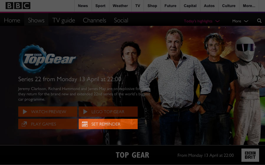 Set Reminder button on the BBC Brit show page (  www.bbcnordic.com/shows/top-gear/  )