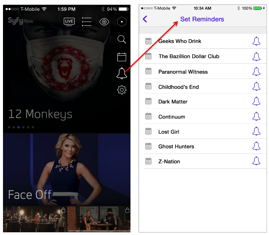 Fans can click to subscribe to shows from the Syfy App.