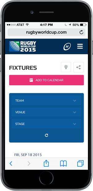"""""""Add to Calendar"""" Button on Fixtures page of Rugby World Cup mobile site."""