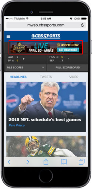 Example of paid endemic banner ad running on CBS Sports website
