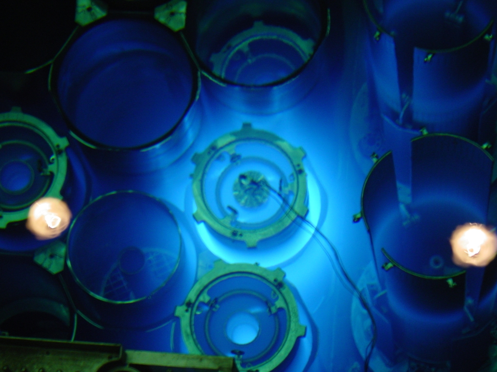 Image courtesy of ORNL. Spent fuel assemblies of the High Flux Isotope Reactor in Oak Ridge, TN