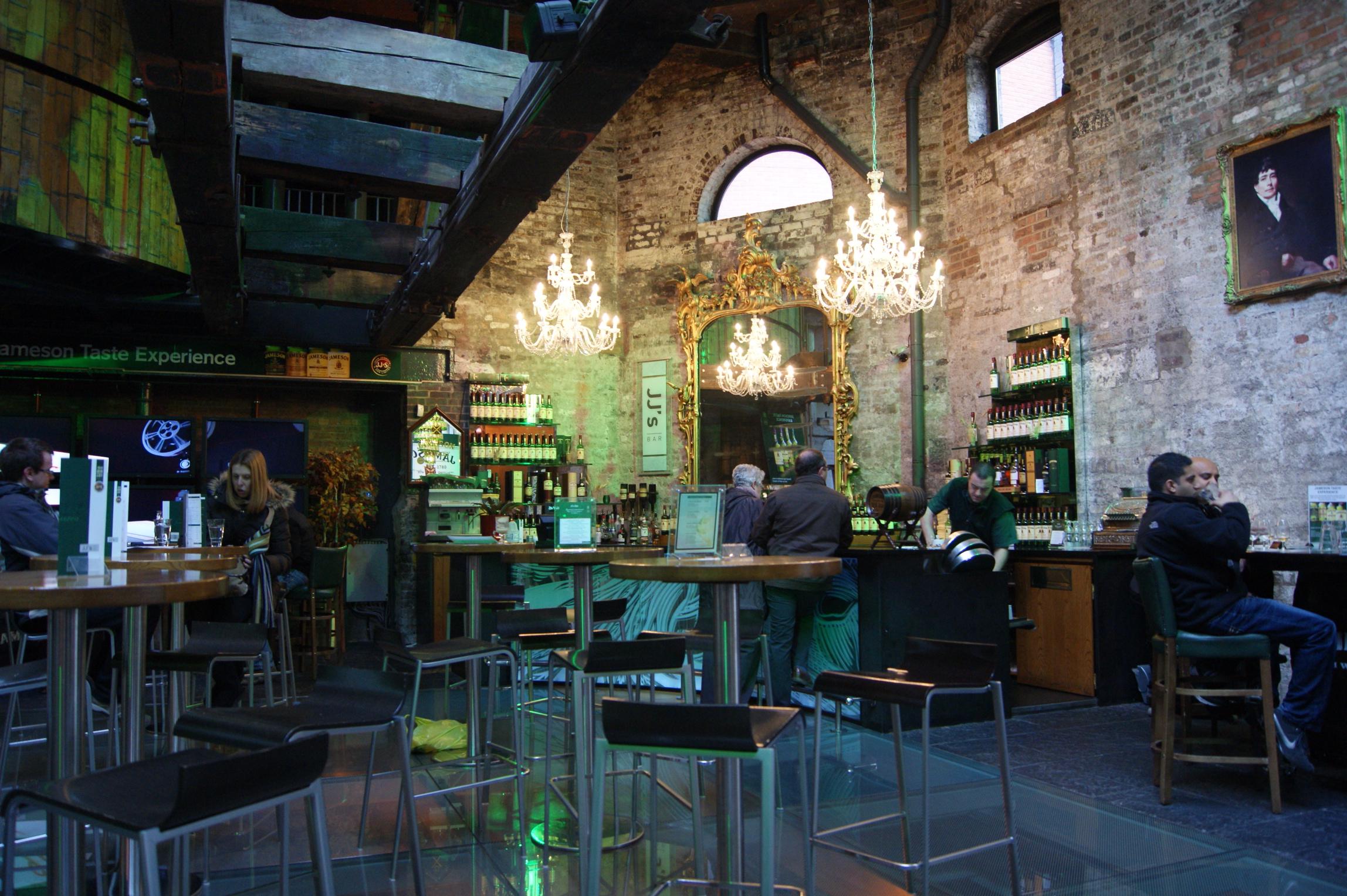 The bar inside the distillery