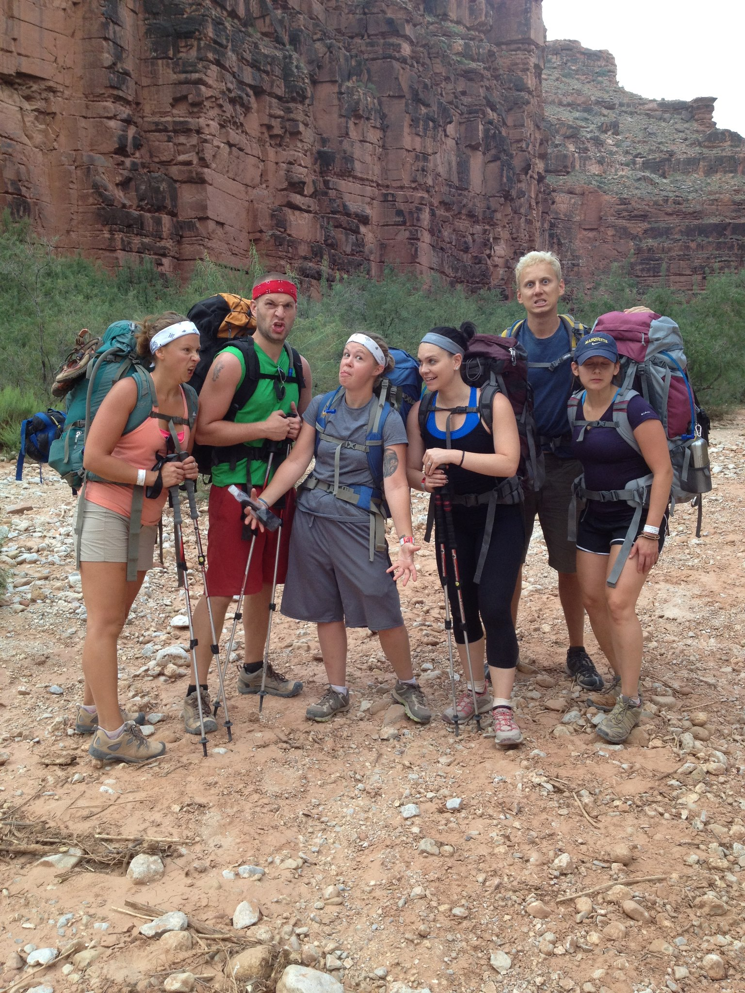 The group hiking out