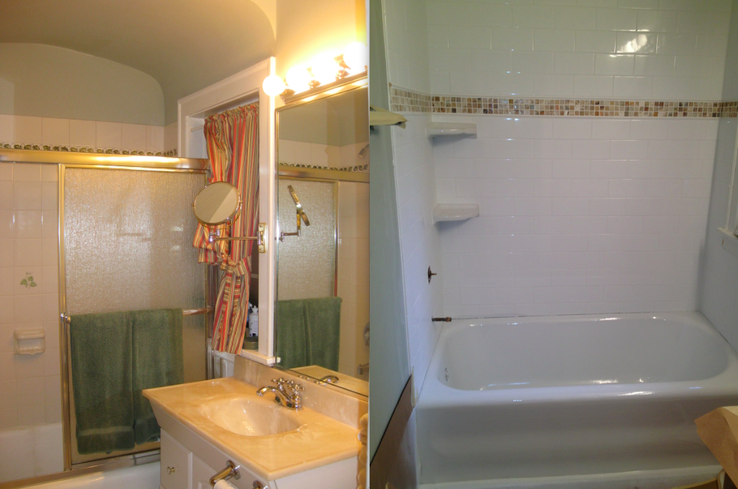 Bathroom Before (Left) --> Refinished tub/new tile (Right)