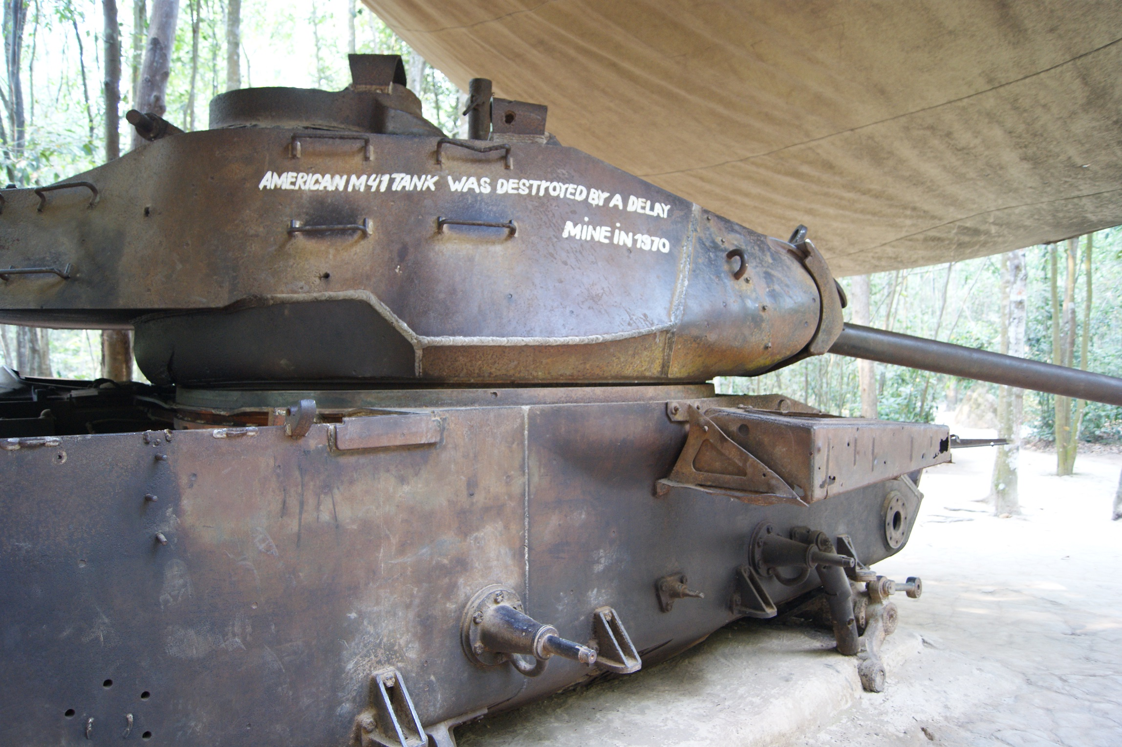 American tank destroyed in the war