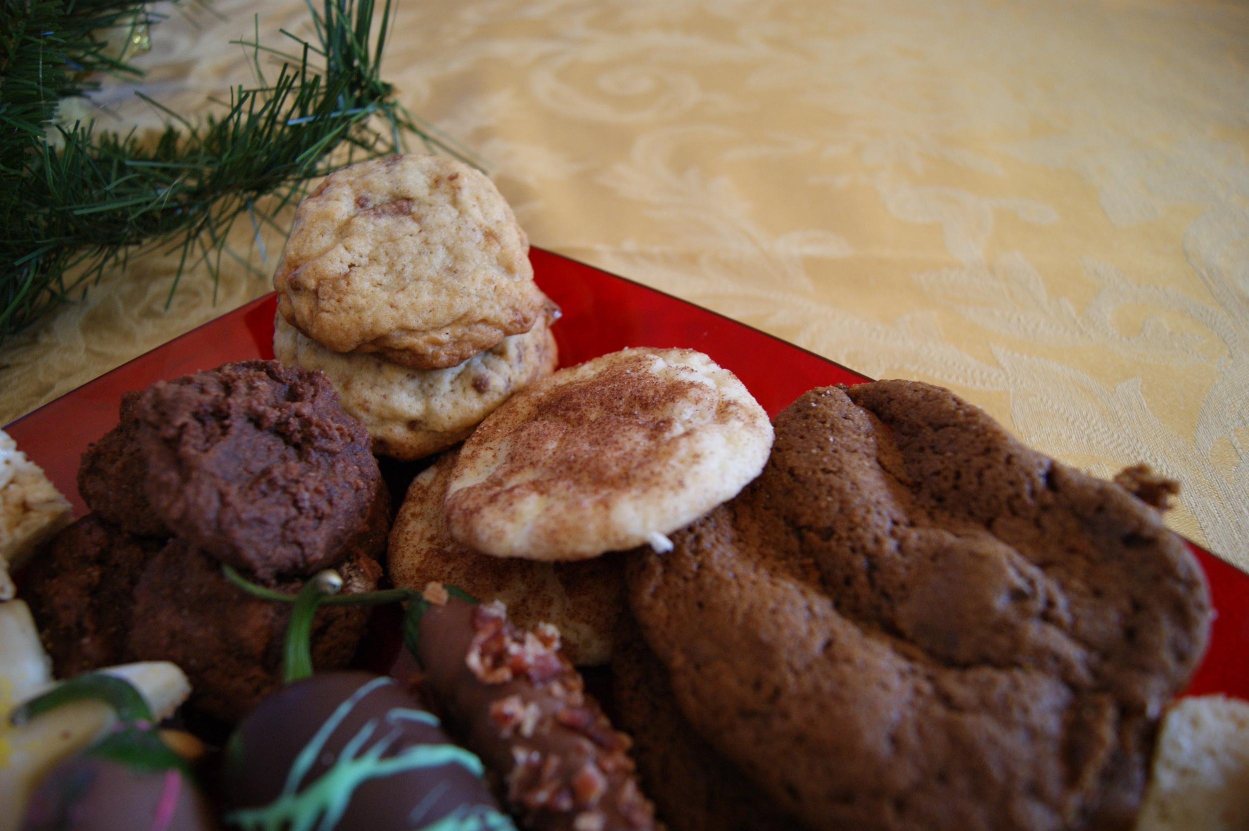 Lauren's chocolate fudge cookies, Michelle's toffee cookies, Kate's snickerdoodles, Sarah's chocolate coffee cookies