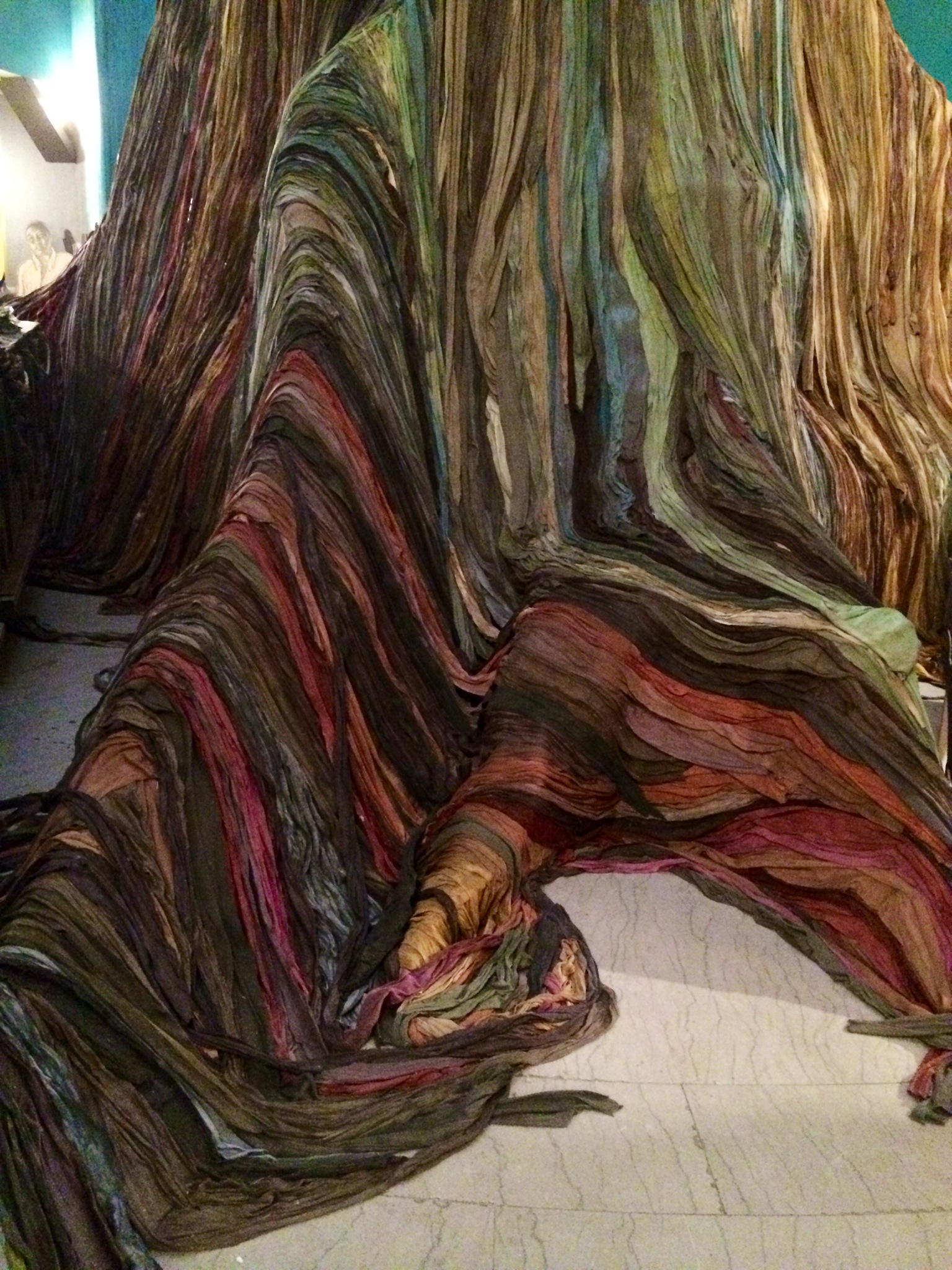 Strips of colored cloth created the tree