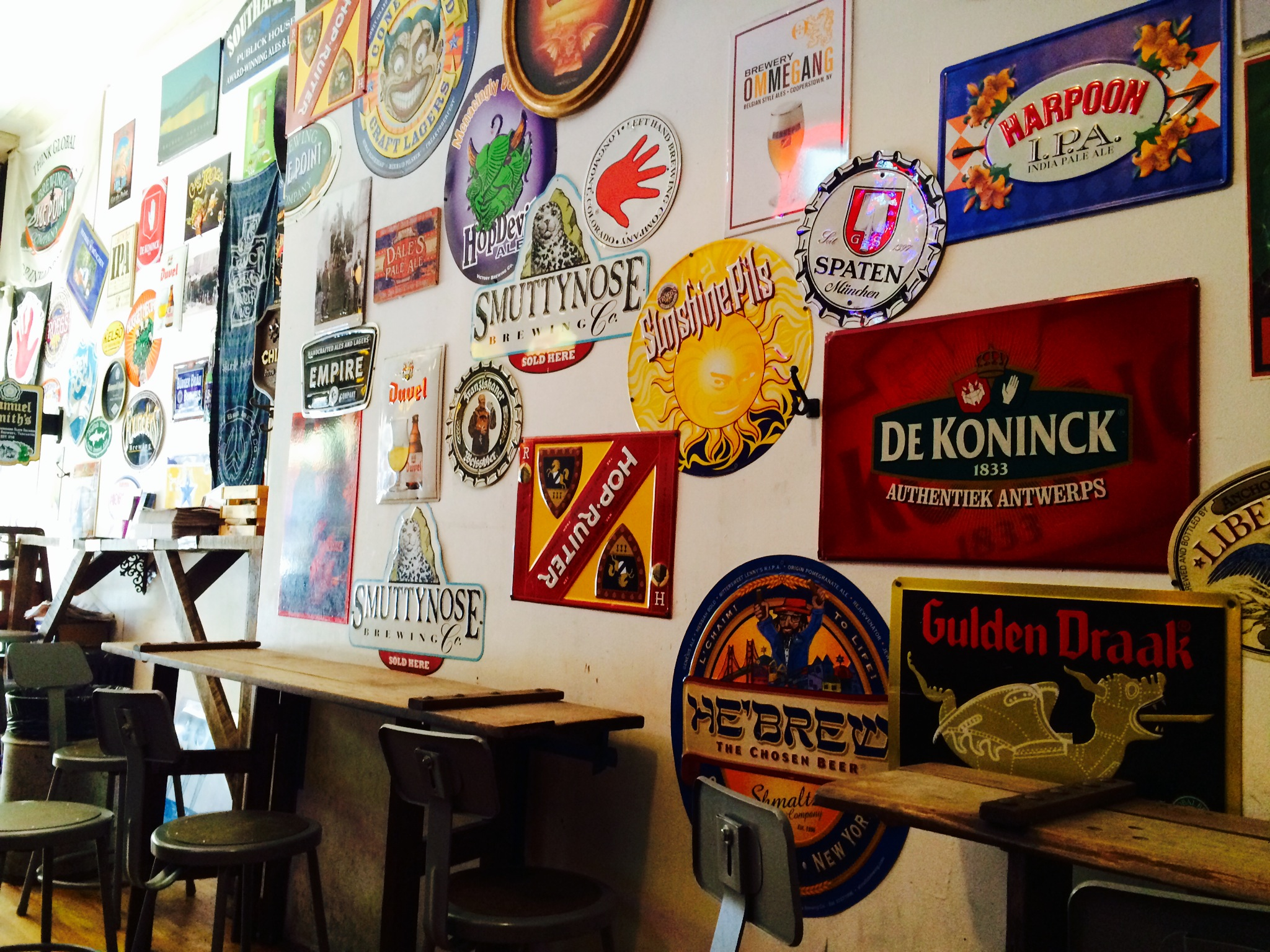 Inside Bierkraft you'll find beer signs and hear throwback 90's tunage. There is also an outdoor beer garden.