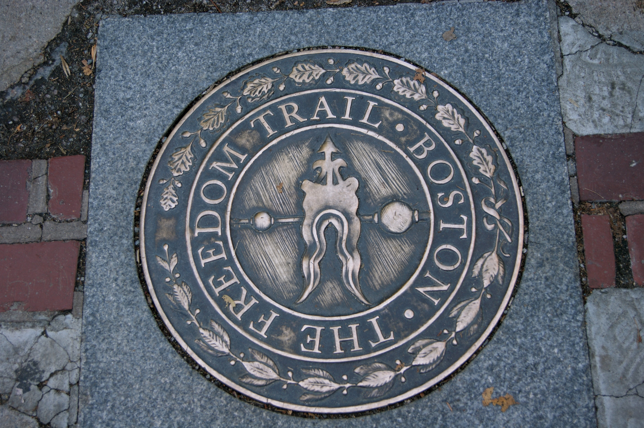 Marking the way of the Freedom Trail, a pedestrian walkway through Boston historical sites