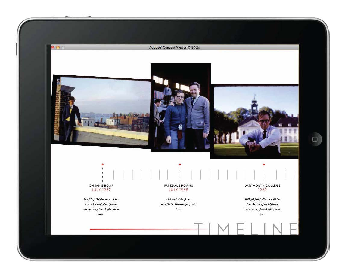 In a traditional printed book, it can sometimes be difficult to show a lot of photos and to have any meaningful relationship between the photos. Here, a series of snap shots that show a timeline of the trip can be viewed in chronological order by sweeping your finger across the screen.