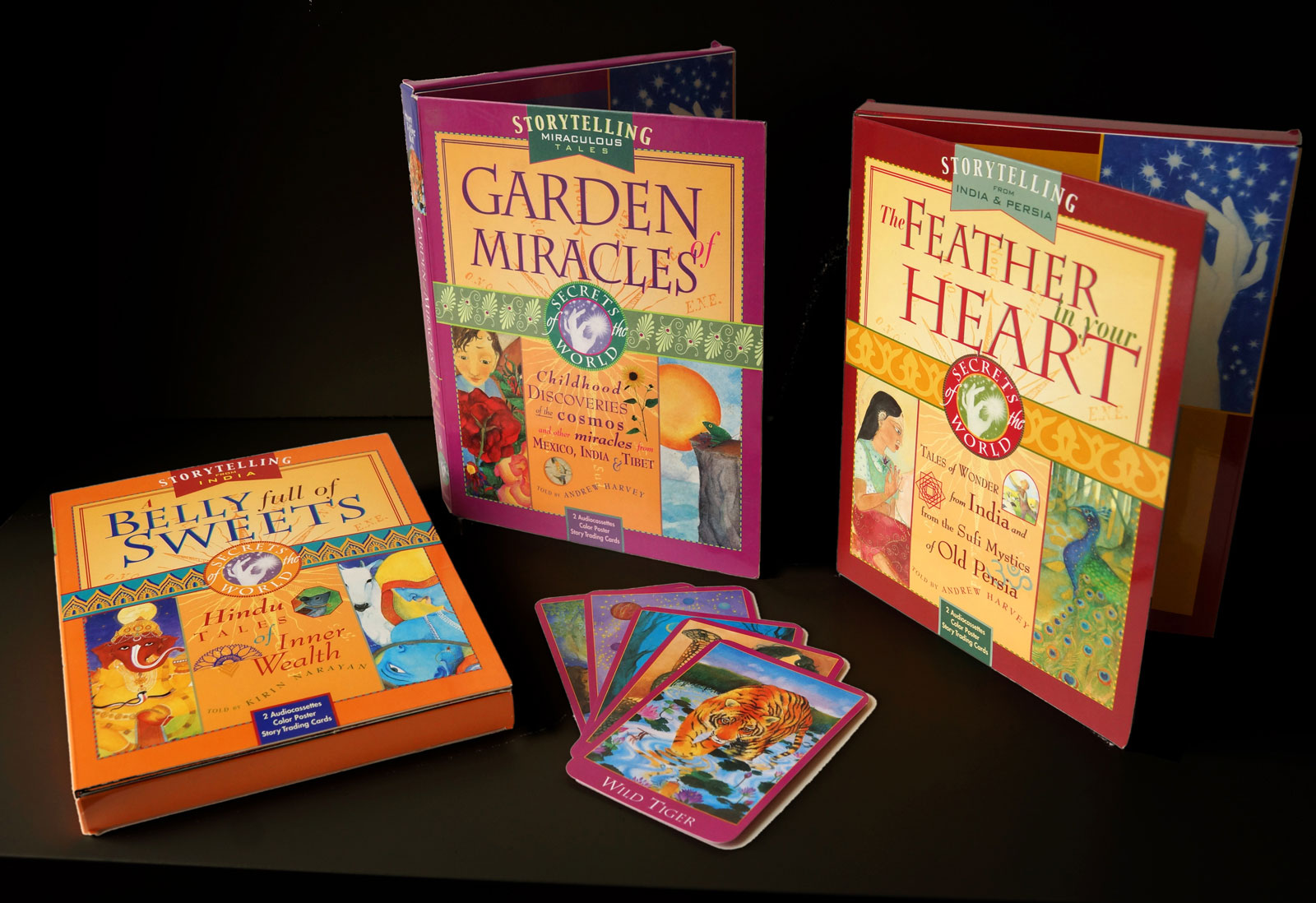 Each package contained a poster with a map showing the provenance of the story, a series of playing cards displaying the various characters, and the audio recording