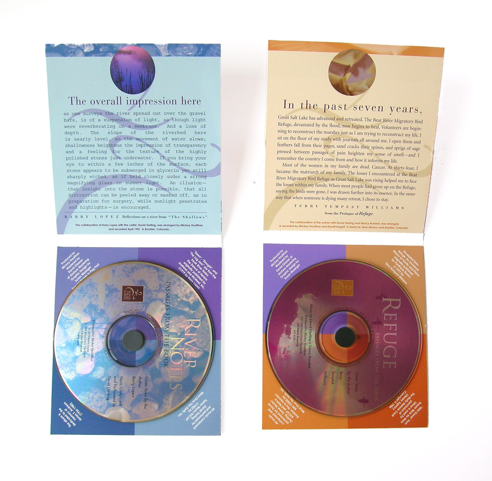 CD packaging for a series of spoken word recordings by Barry Lopez and Terry Tempest Williams. See more examples of CD and DVD packaging H ERE.