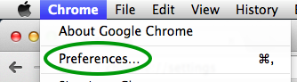 In the Chrome menu, click on Preferences...