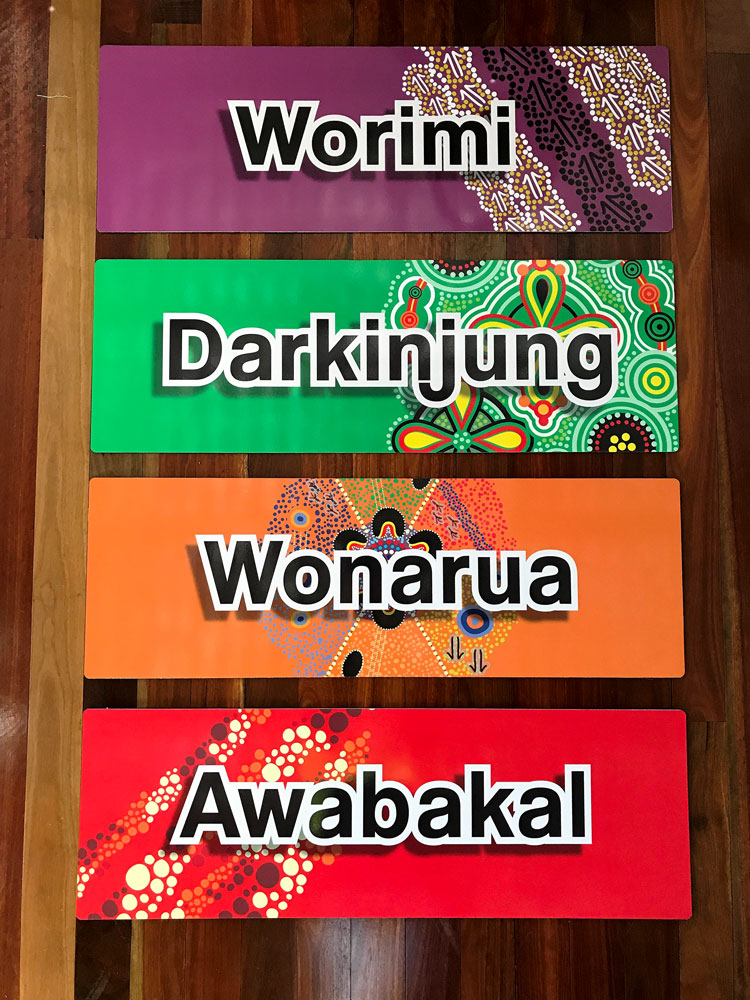 School signs - Aboriginal theme designs and colours