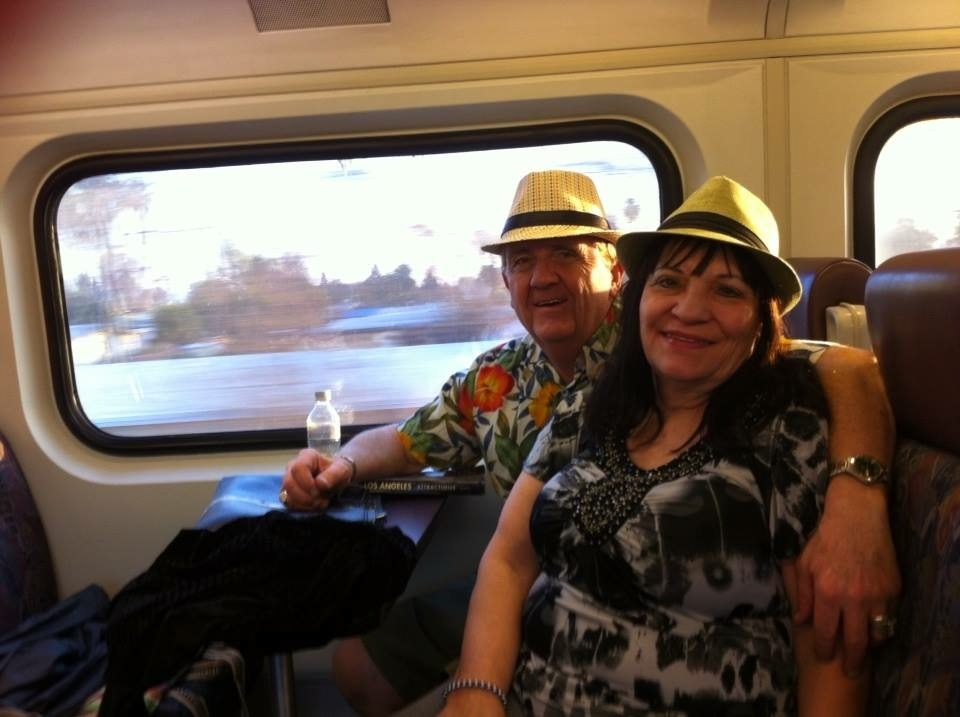 My mom and dad on a train trip that I think was on the way back from Santa Barbara to LA.