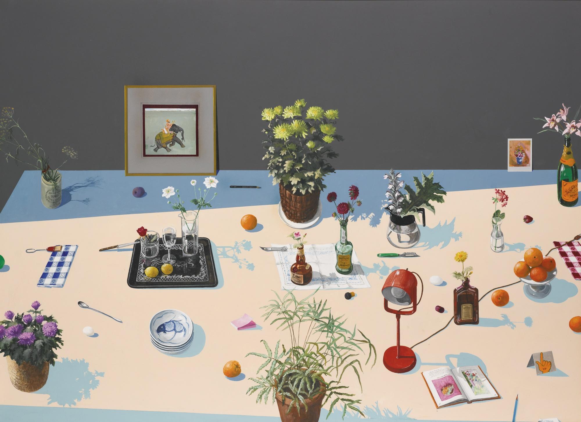 Paul Wonner   Still Life With Indian Miniature , 1980 Acrylic on canvas 177.8 x 243.8 cm