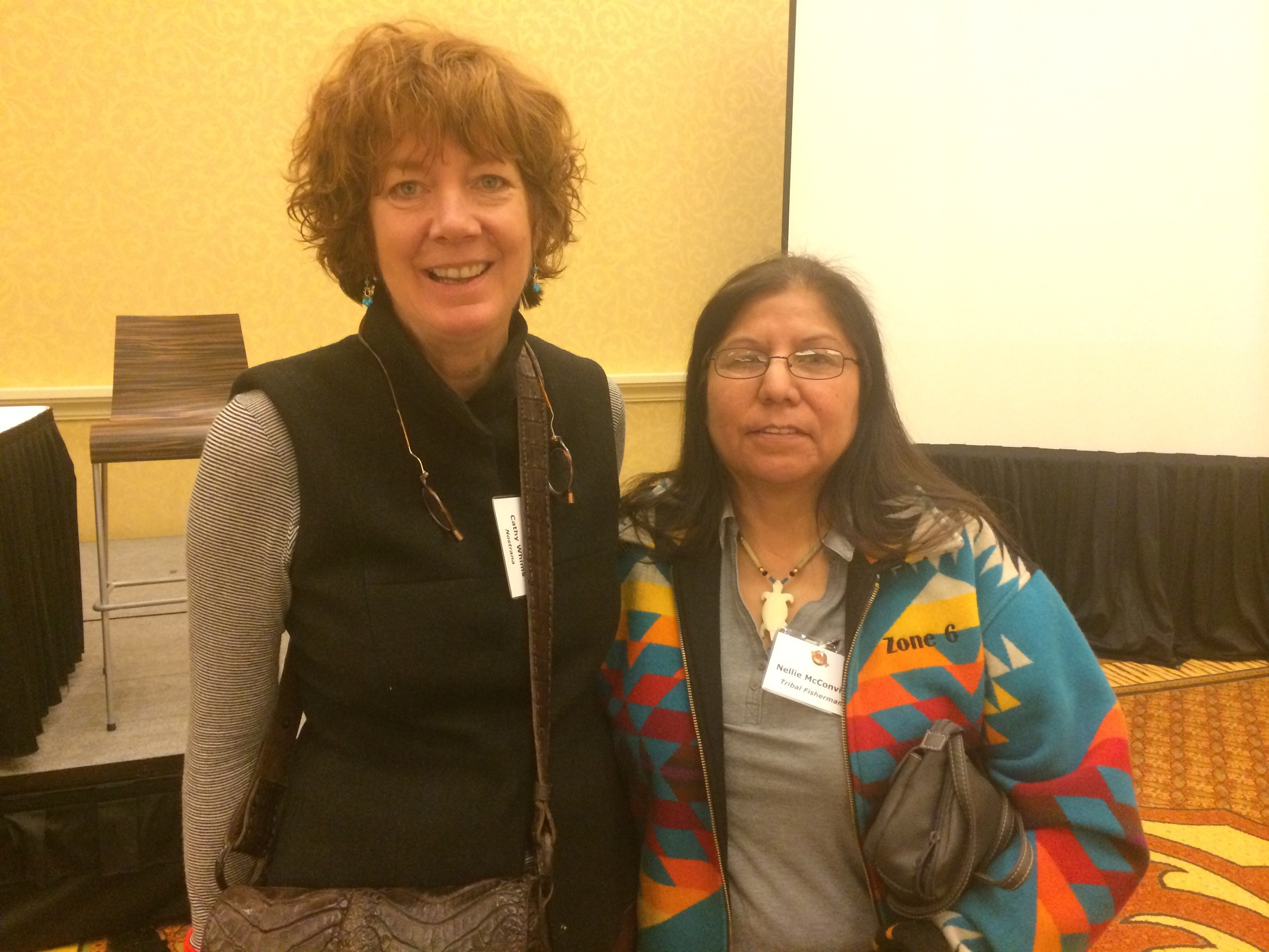 Cathy Whims of Nostrana and Shaker and Oven with Nellie M. of Tribal Fisheries