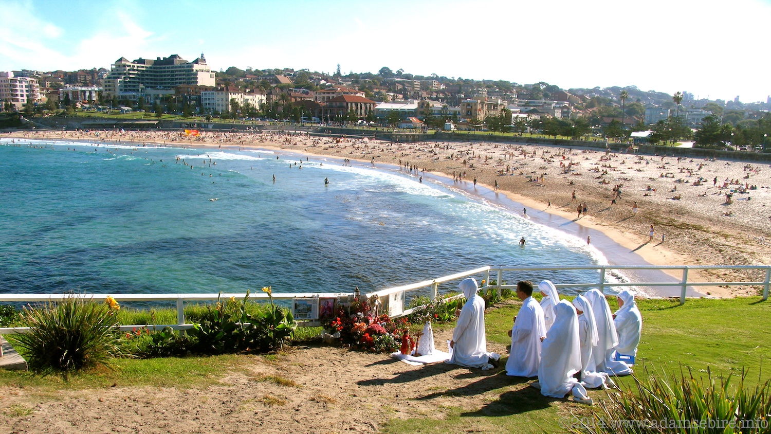 Praying to an apparition of the Blessed Virgin Mary in a fence post, Coogee Beach, Sydney, NSW, Australia