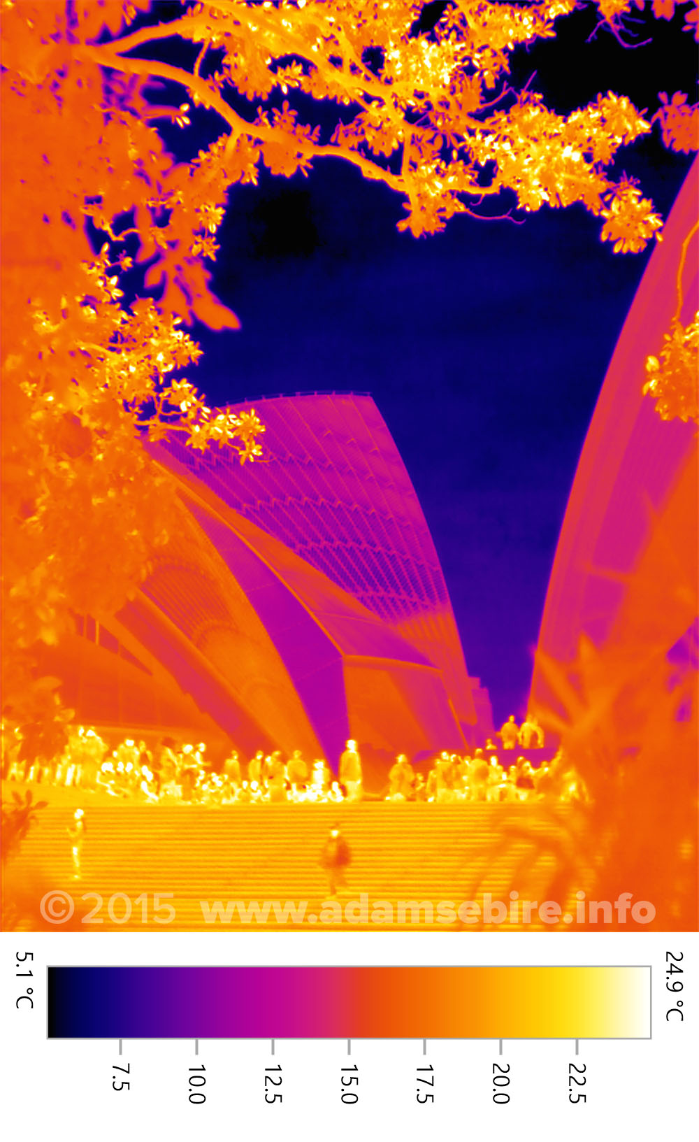Sydney Opera House infrared thermal image showing prinicple of white roofs as energy efficient sustainable design