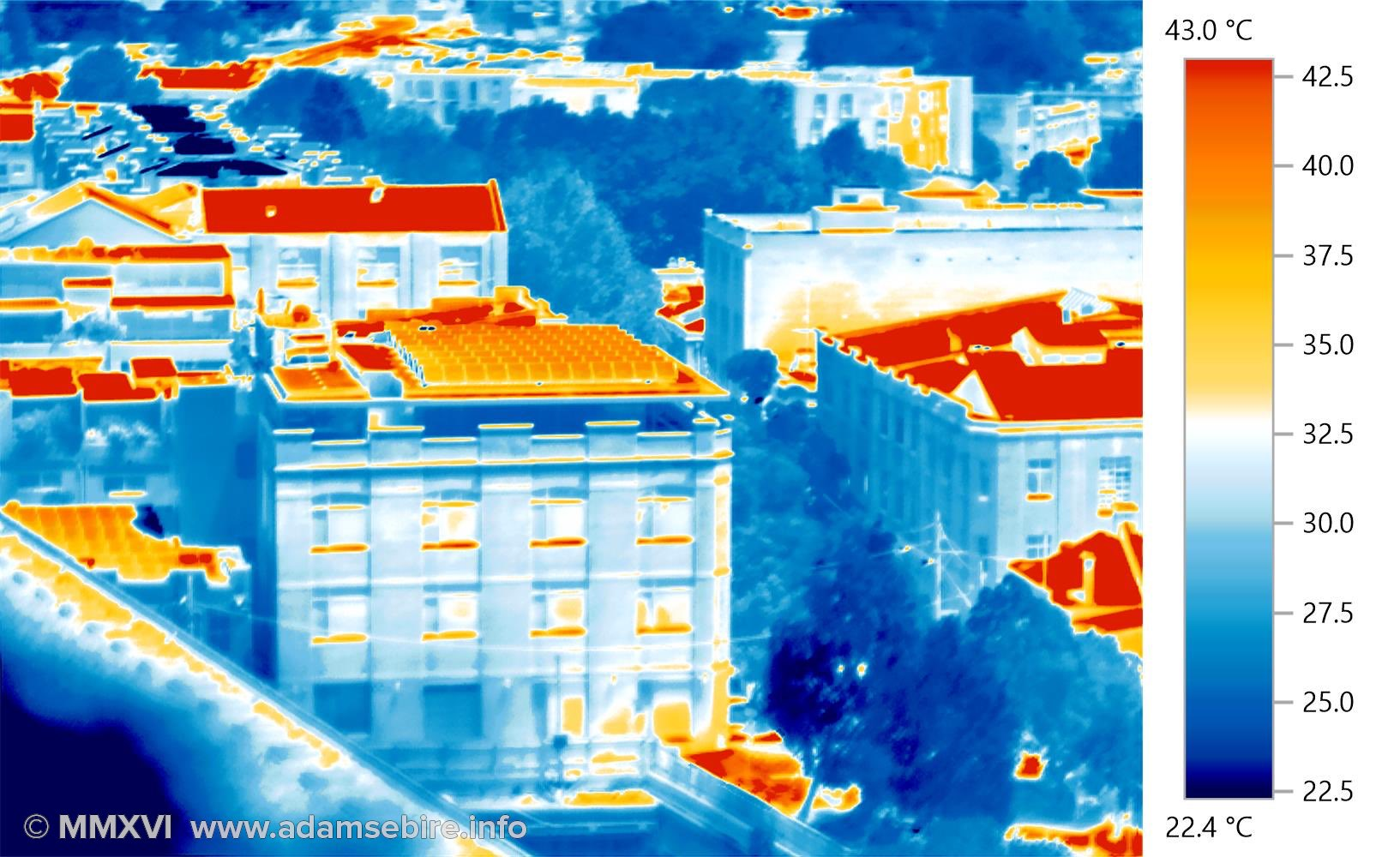 Rooftop with solar panels — urban heat islands (thermal image IR001350)