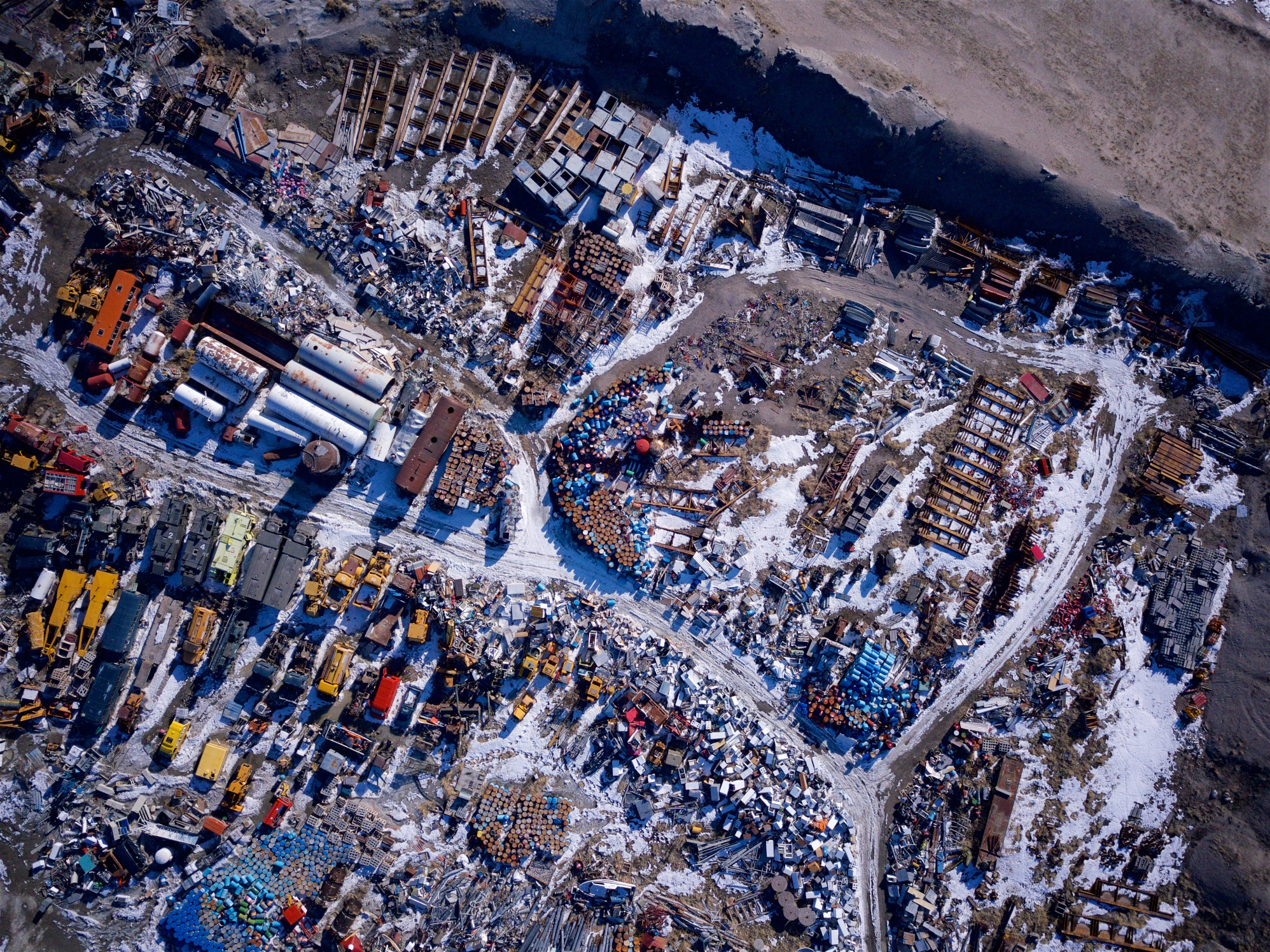Aerial shots — town dump in Greenland
