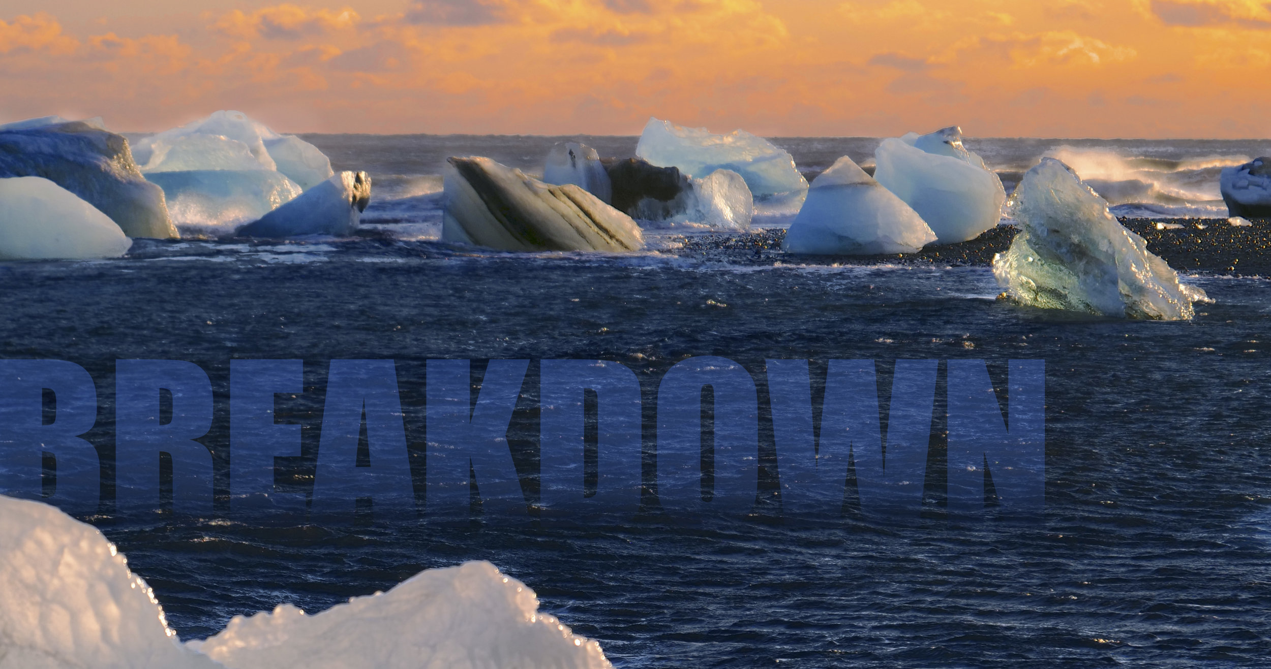 "AnthropoScene I : Breakdown     (2018)   Video, 4'00""  A stunning procession of dying icebergs is reimagined as a traffic pile-up of cinematic proportions."