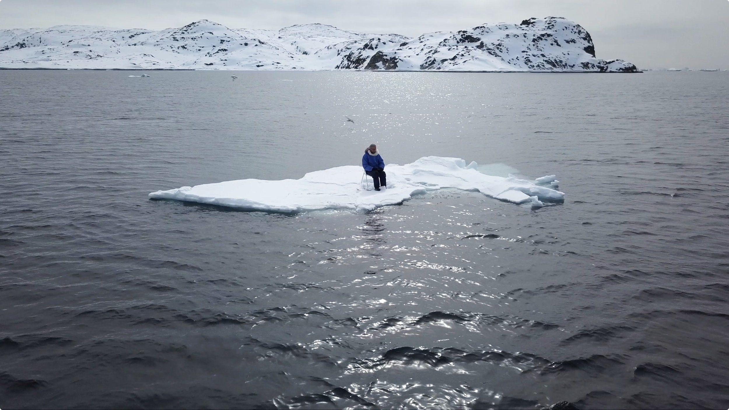 "AnthropoScene IV: ΔAsea-ice     (2019)   Video diptych or triptych, 8'05"" How can we know when we're seeing the ""fingerprints"" of global warming?"