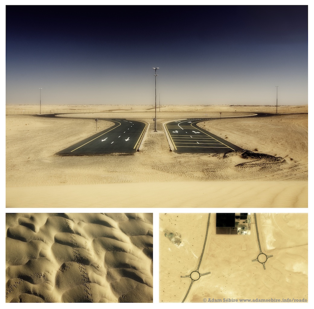 Roundabout #1 - triptych (2012) from the series  Roads to Nowhere  by Adam Sébire.
