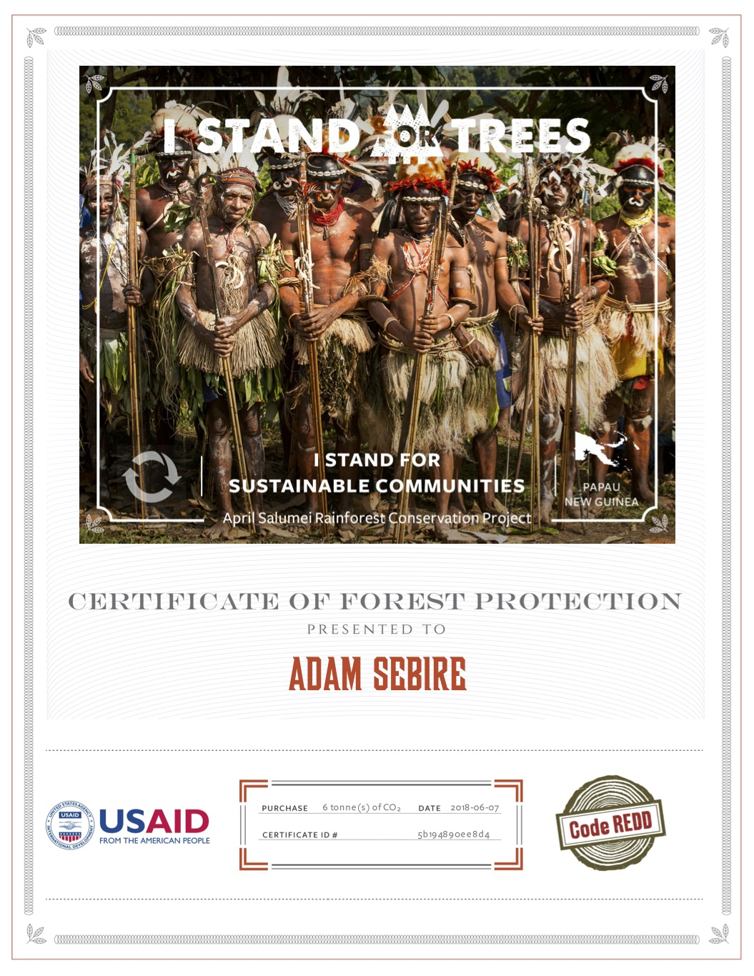 Carbon offset certificate for Adam's 6t of flight emissions