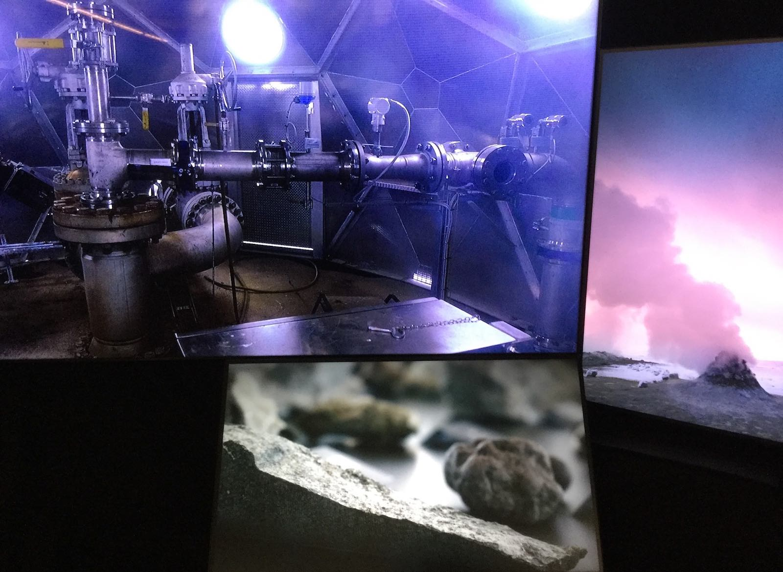 Installation view of the video triptych, Deutsches Museum, Munich, October 2018, as part of the exhibition  (Um)weltschmerz: An Exercise in Humility and Melancholia .
