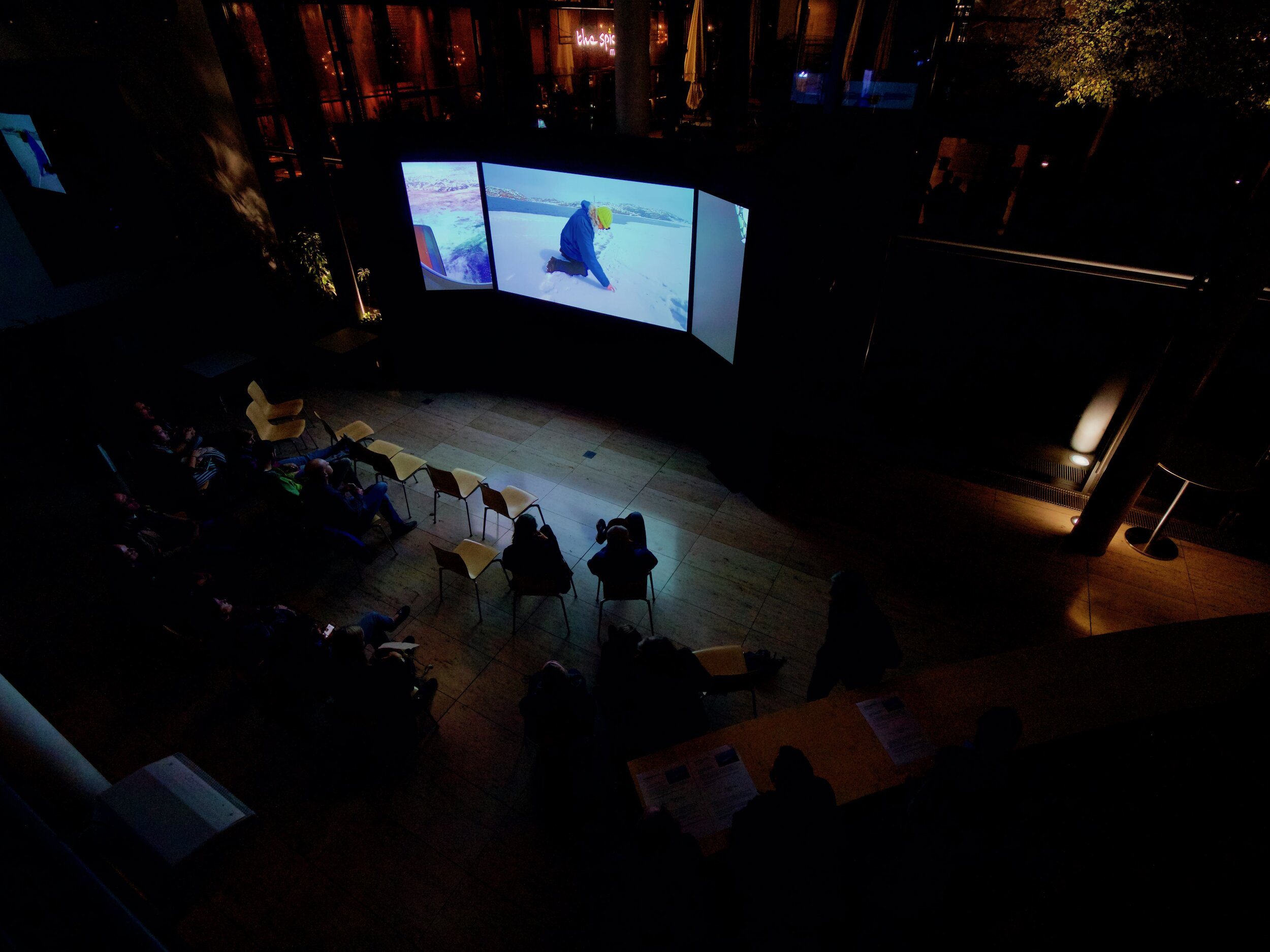 World première (triple screen projection) at Max Planck Institute, Munich, October 2019.