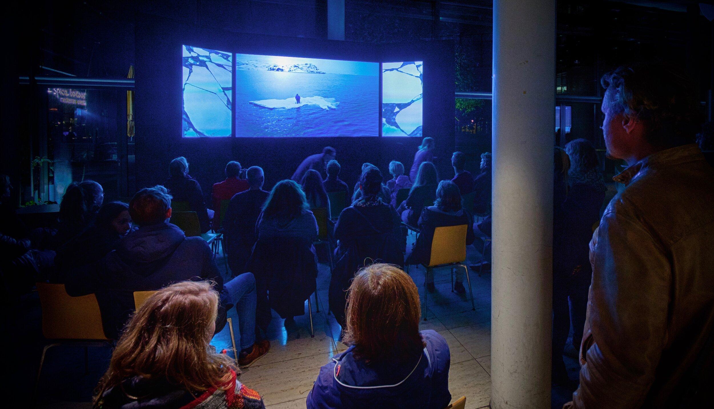 World première (sea ice video triptych) at Max Planck Institute, Munich, October 2019