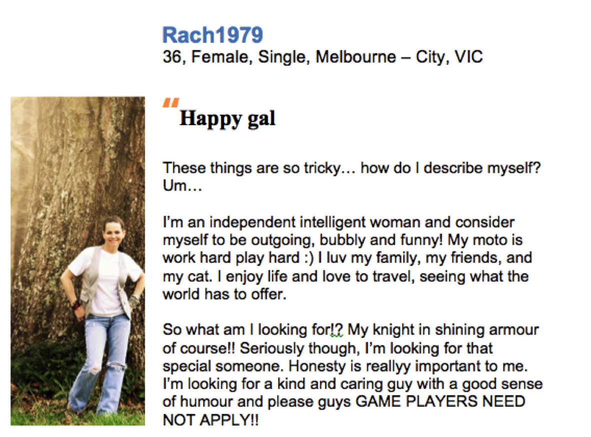 Online dating profile example - what (not) to write on your online dating profile on  free and paid Australia dating sites. Online dating advice, online dating tips, online dating strategies.   eDateMate Australia.