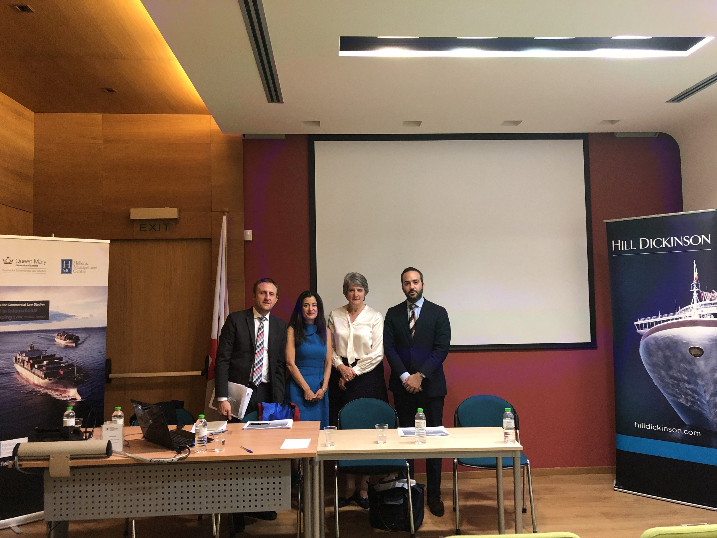 Mr Andrew Dyer, Partner at Hill Dickinson, Dr Miriam Goldby, Reader at CCLS, QMUL, Professor Yvonne Baatz from CCLS, Mr Ieronymos Bikakis from Hill Dickinson