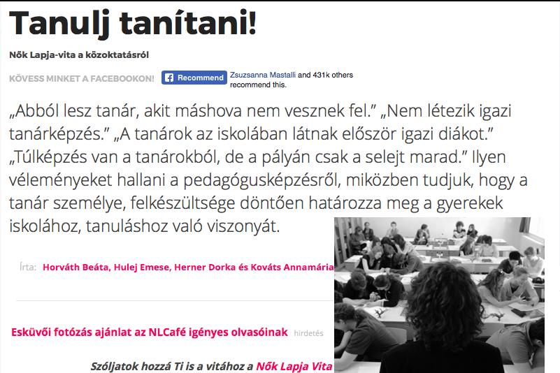 Nők Lapja INTERJÚ: tanárképzés, tanári pálya