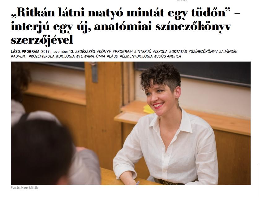 INTERJÚ: Szívtetkó felnőtt színező,élménybiológia, tanítás