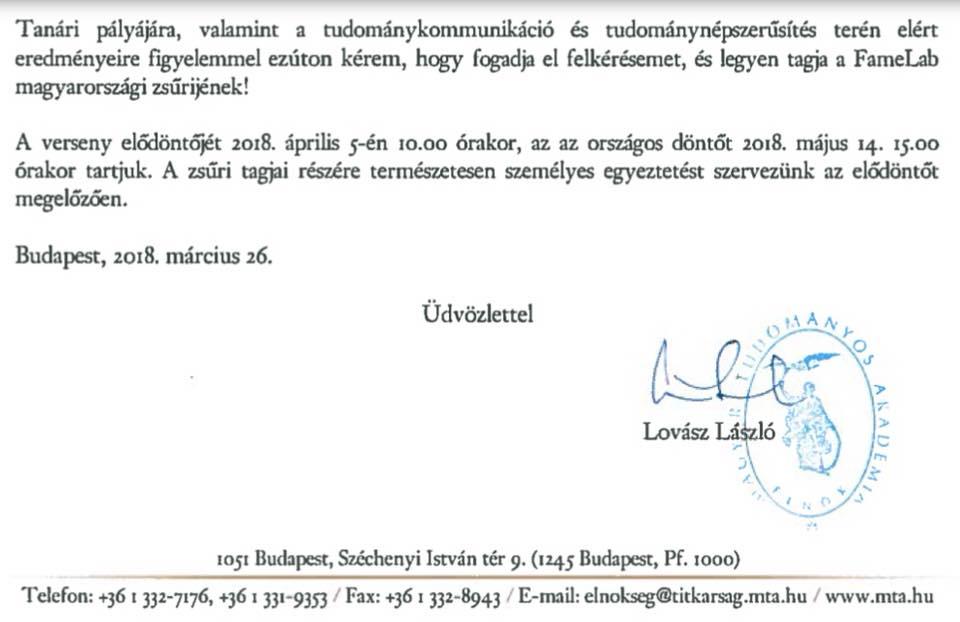 Felkérő levél a Magyar Tudományos Akadémia elnökétől