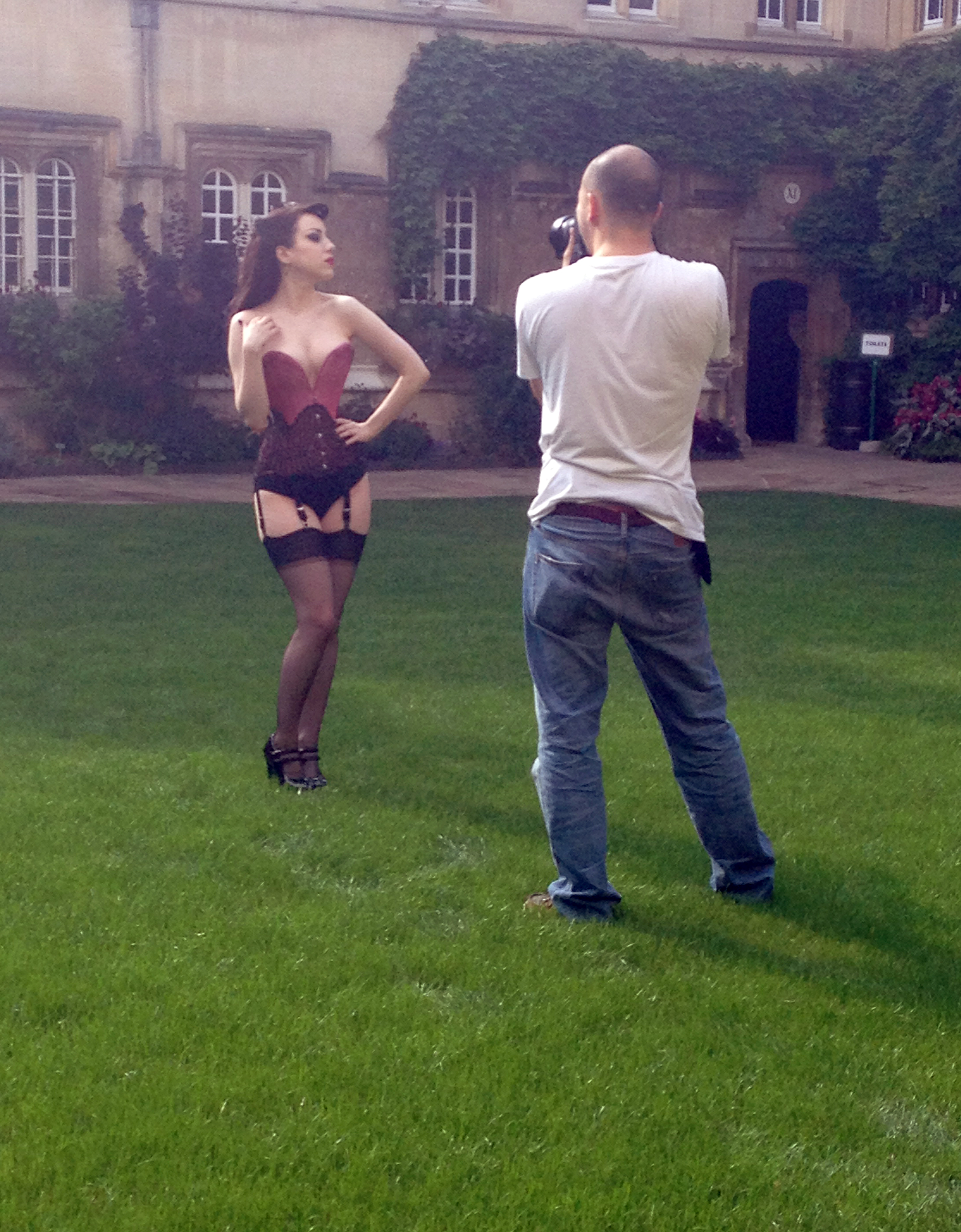 Chris Murray photographs Morgana on the Second Quad at Jesus