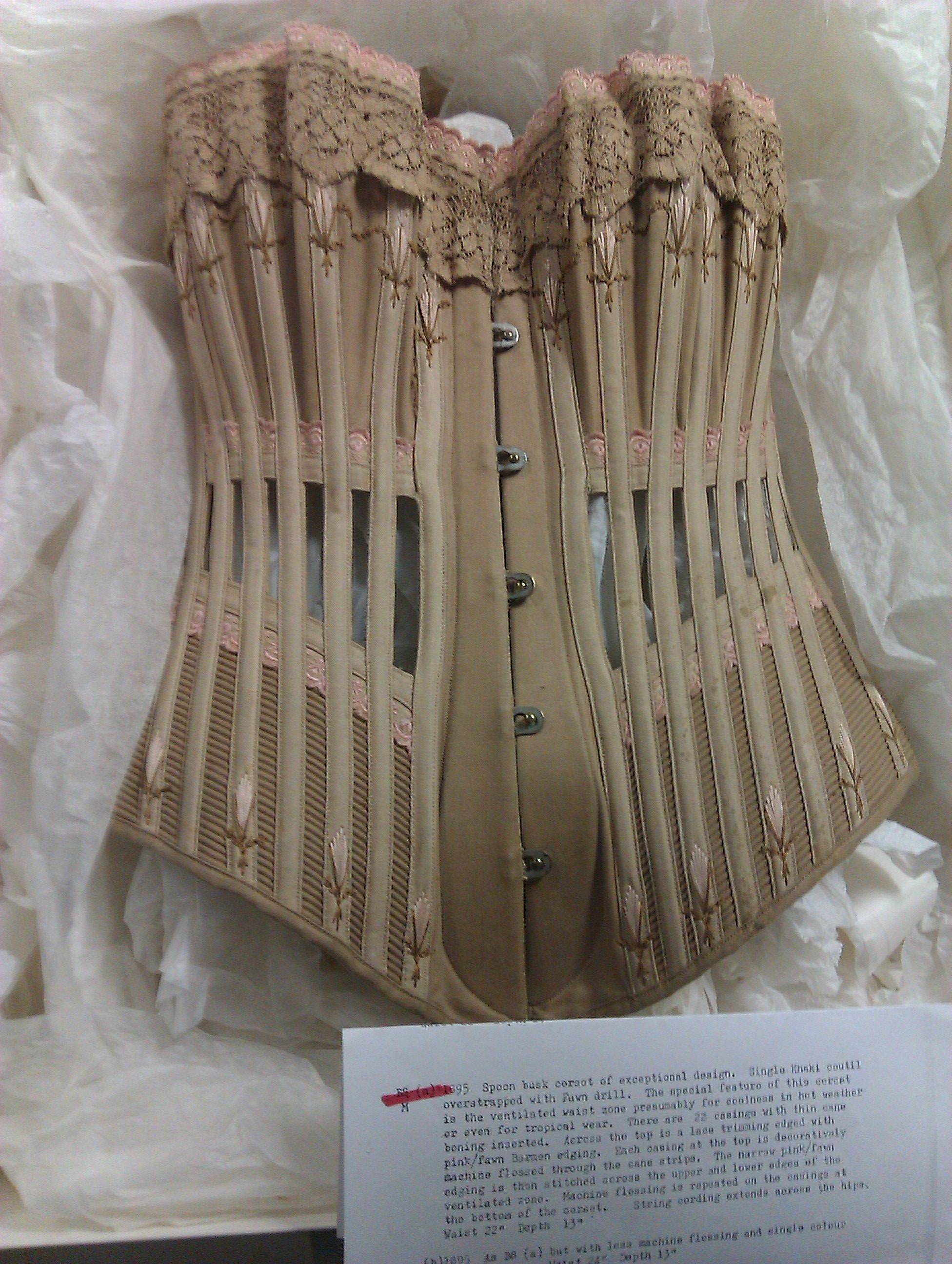 "This ""ventilated"" corset is held by the Snibston Fashion Museum. Shared with permission of Leicester County Council, photo taken by Jenni Hampshire."