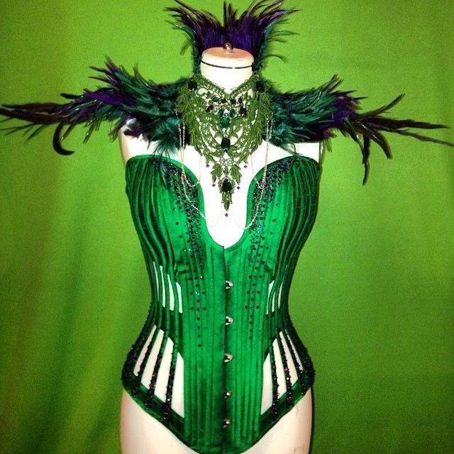 Corset by  Purdy Corsetry , neckpiece by  Forge Fashion . Made for burlesque artist  Venus Starr .