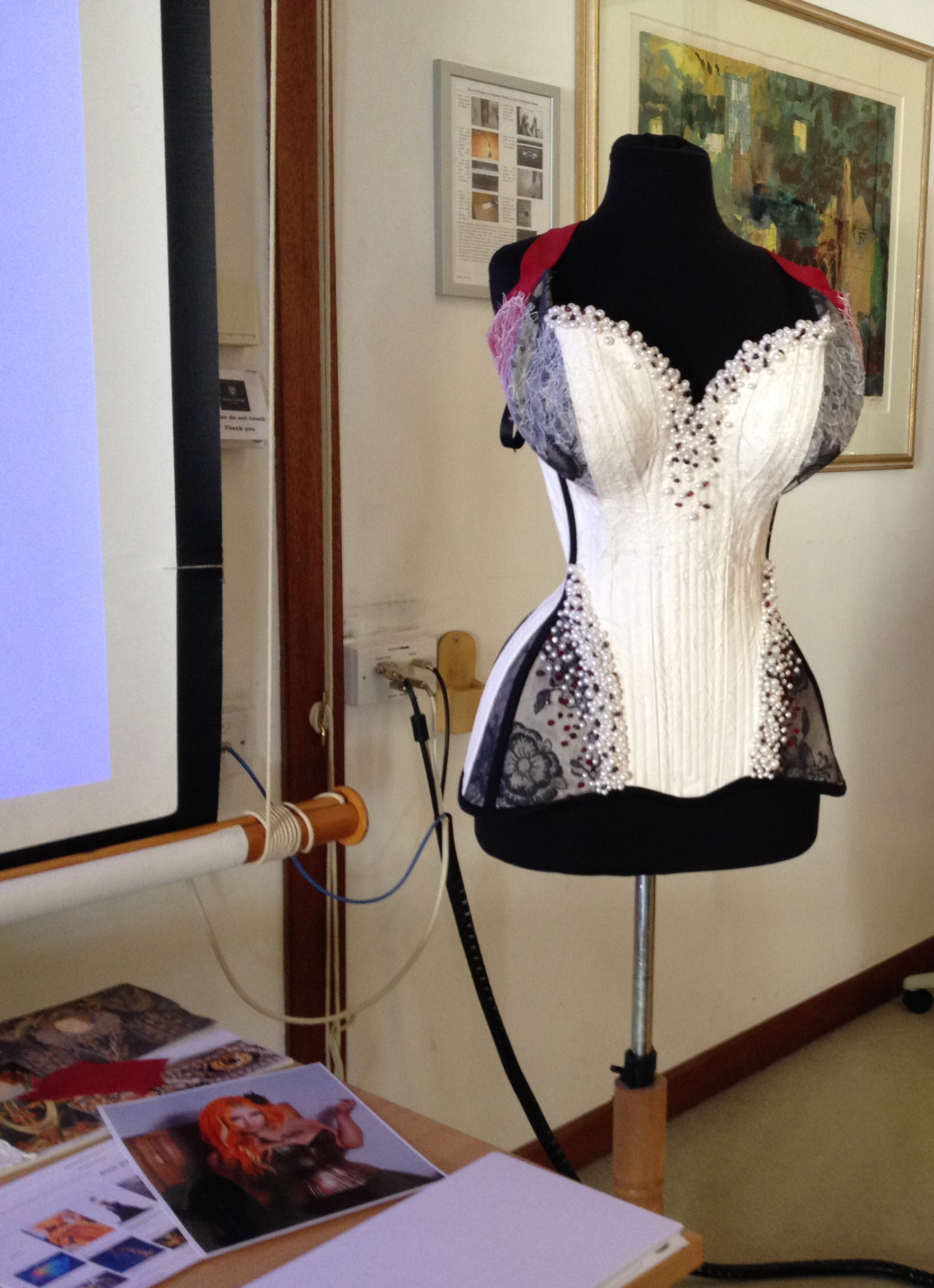 "All of the presenters bought their own interpretation of Jesus College inspirations and tied these in with the subject of their presentation.  Here is Alison's ""Jesus Corset"" which is ofcourse inspired by Elizabeth I and Mary Queen of Scotts."