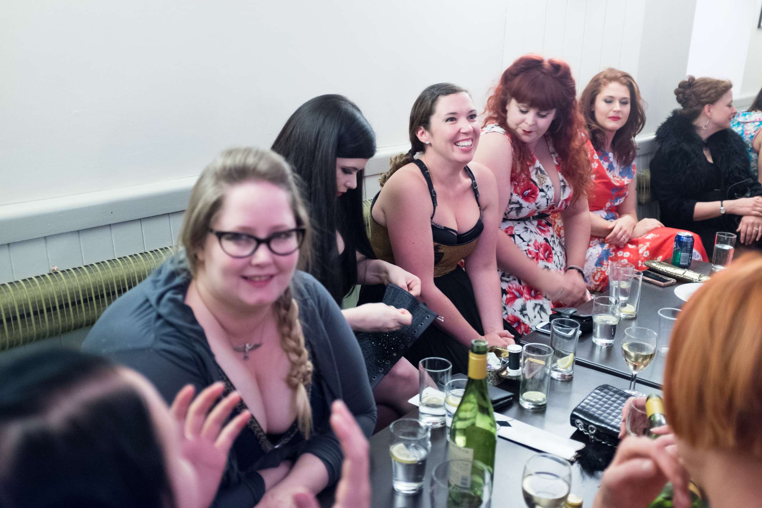 Socialising in the Fourth Quad - the student bar - here's Jenni of Sparklewren, Rosie of Rosie Red, Lowana of Vanyanis, Hannah of Neon Duchess, Liz of Elizabeth Armstrong, Steph of Past Pleasures, Caroline of Corsets by Caroline. picture copyright Chris Murray
