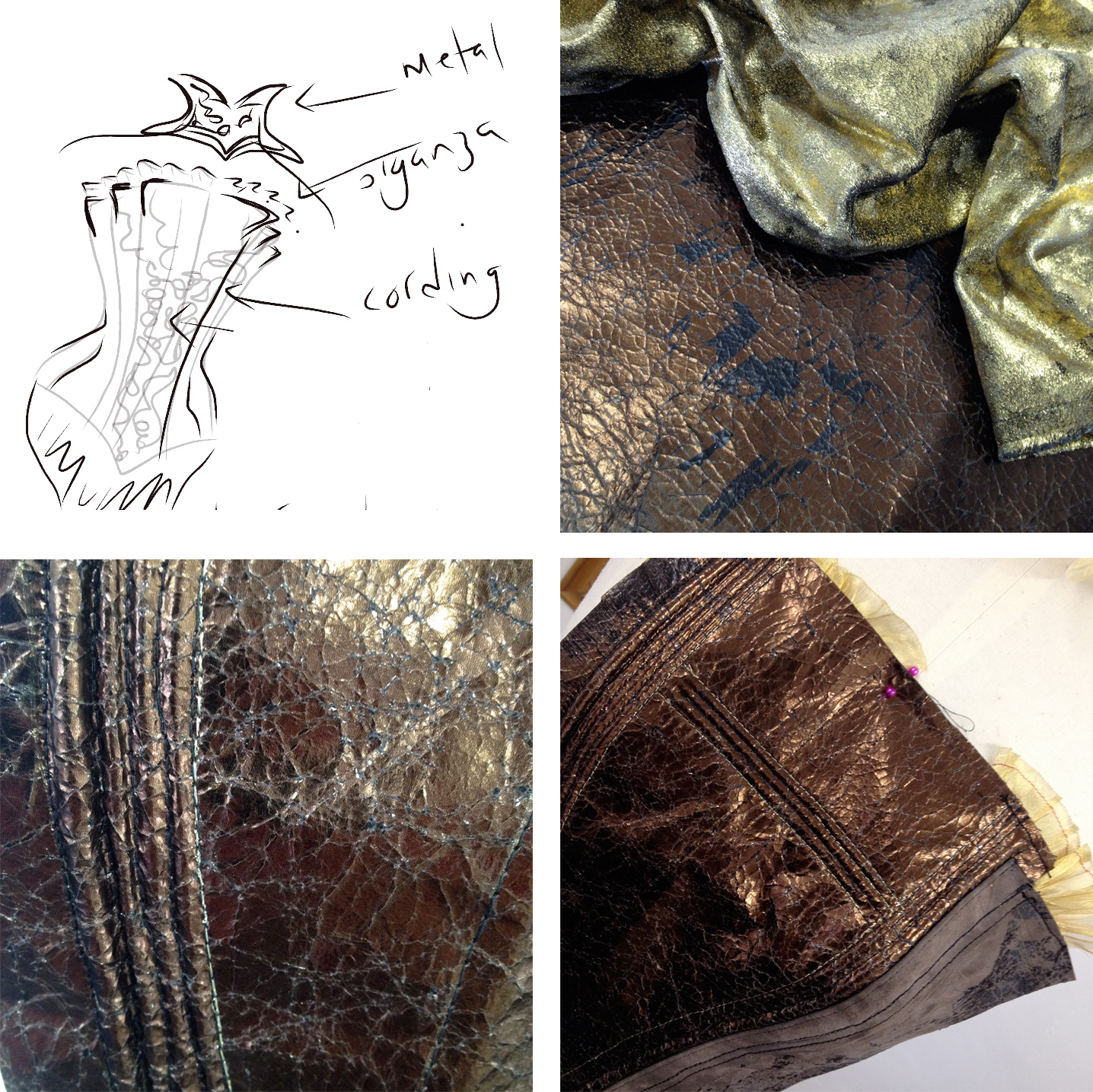 The initial sketch is not really like the final design - there were 'pages' symbolised by a stepped top edge and 'golden parchment' symbolised by an organza ribbon trim... this skitch is very literal.  Also shown are close ups of the leather before it was painted, and test pieces with cording.