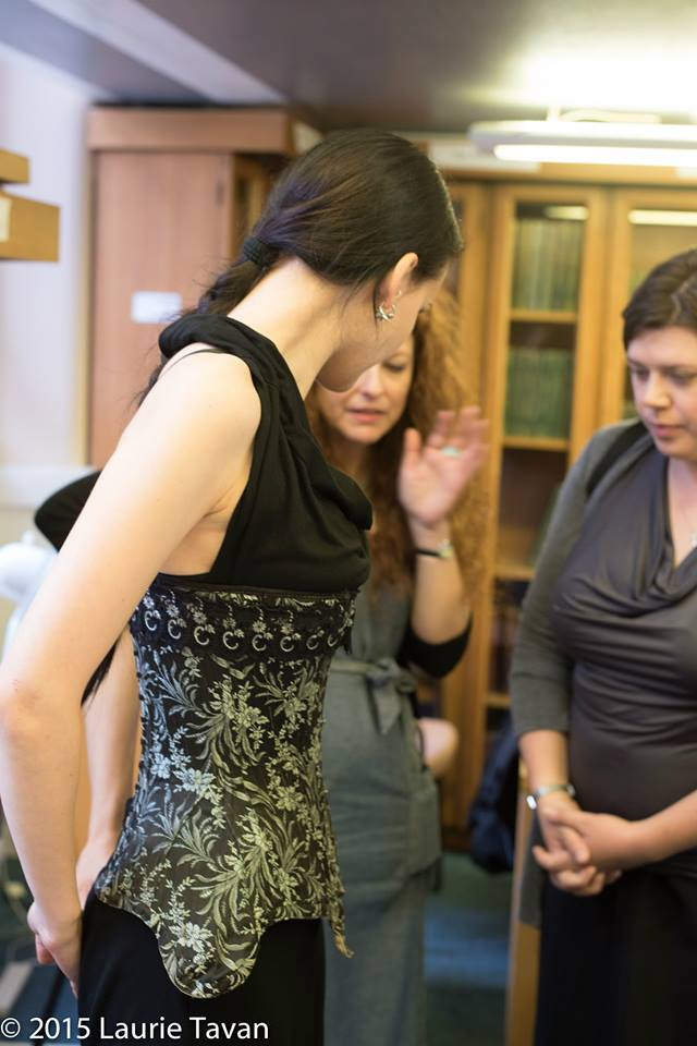 Barbara Pesendorfer of Royal Black trying on one of Stephanie Selmayr's gorgeous antiques under the expert gaze of Steph and Marion. Image copyright Laurie Tavan 2015.